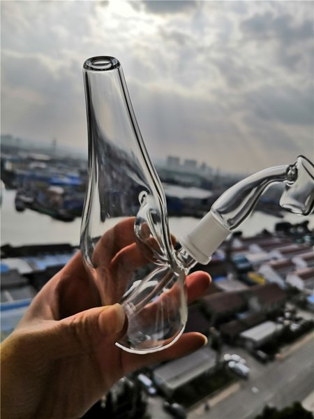 Bongs de vidrio de botella de vino con Banger Fab Egg Glass Pipes de agua Tubos de toro 14mm Male Joint Nexus Puck Heady Hookahs Envío gratis