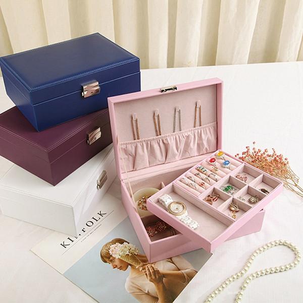 Multifonctionnel Boîte à bijoux en velours superposable en cuir avec affichage de rangement des bijoux de verrouillage Plateaux tiroir boucle d'oreille Collier Bracelet Organisateur Anneau