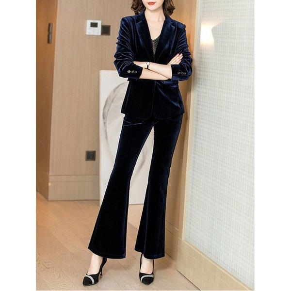 de velours d'or costume féminin rétro blazers costume tempérament mince avec un pantalon large jeu de jambes d'affaires décontractée vêtements d'affaires des femmes