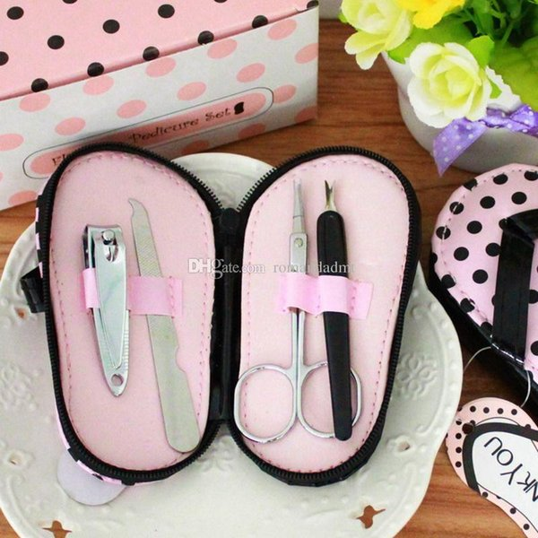Wedding favor gift Pink Polka Flip Flops Slipper 4 Piece Pedicure Manicure Set Nail Clippers Kit+DHL Free Shipping
