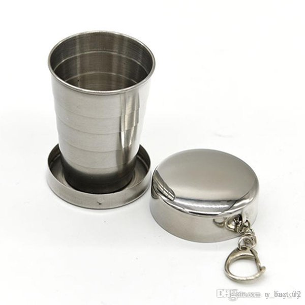 100 pcs Stainless Steel Portable Outdoor Travel Camping Folding Foldable Collapsible Cup 75ml with Key Ring