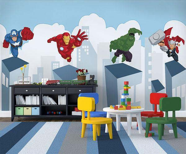 Karikatür superman Duvar Kağıdı Duvar 3d Duvar Fotoğraf Duvar Bebek Çocuk Odası Kanepe Arka Plan için 3d Örümcek-Adam Duvar kağıd ...