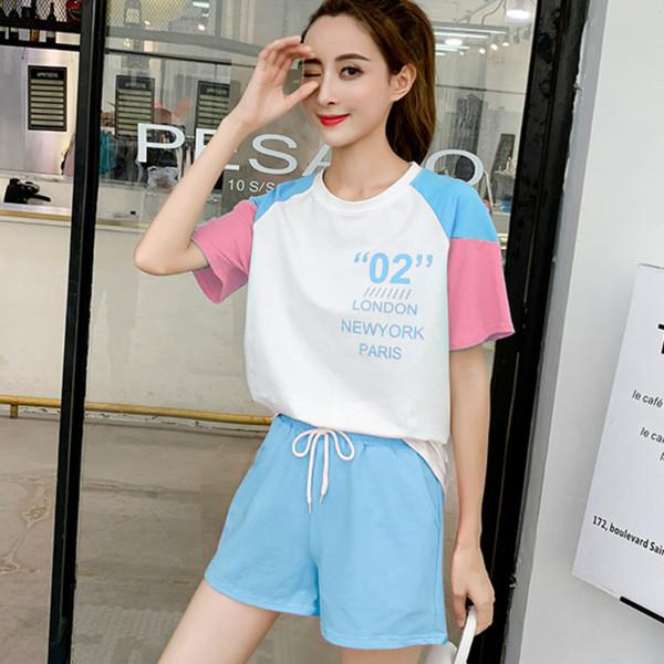 2019 Nuevas Mujeres Camiseta de Manga Corta Pantalones Cortos Conjunto de dos piezas Mujer Verano Pequeño Deportes Coreanos Frescos Lindos Lindos Trajes A Juego