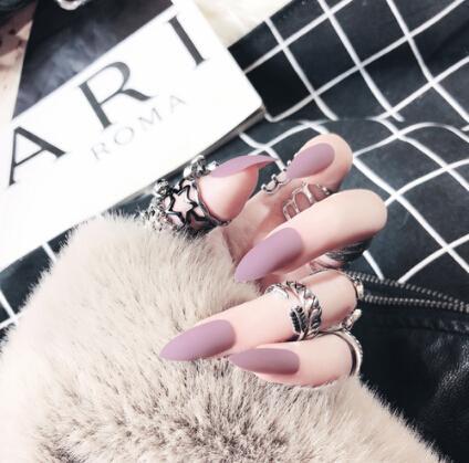 Falsche Nägel Matte 24 stücke Lange Tipps für 10 Pure Color Chip Gel für Nagelverlängerungen Nagelspitzen Faux Ongles Gefälschte Nägel