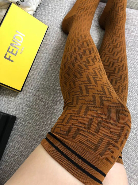 Over knee FF letter jacquard women stockings tide sexy ladies socks girls leggings black brown coffee with gifts box size free