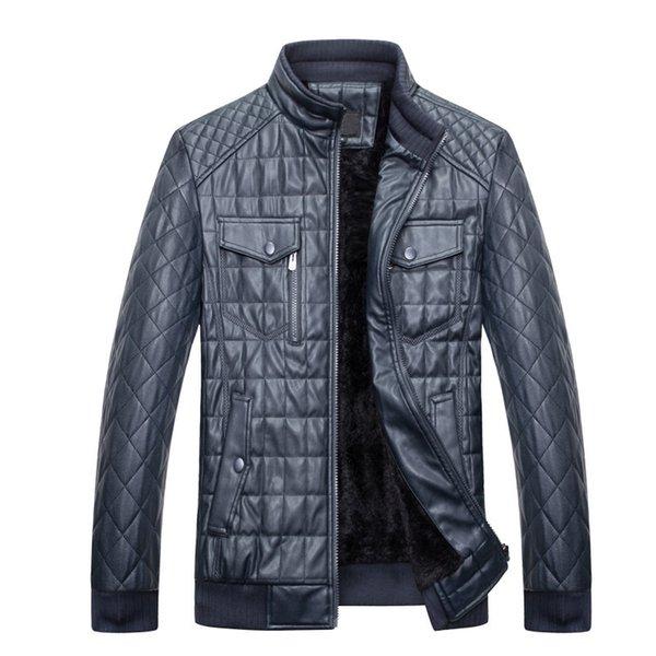 2019 Collar de cuero de la pu de los hombres Terciopelo engrosamiento Nuevo desgaste del invierno Abrigo de cuero Negro Chaquetas y abrigos Faux Men cuero