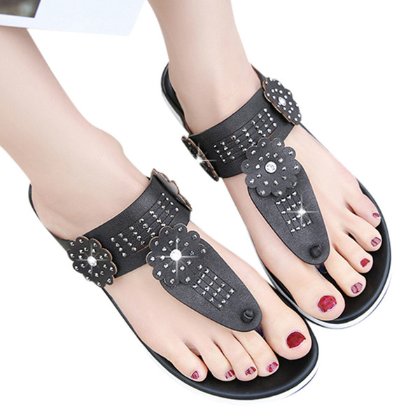 Летние женские римские сандалии Плоские чешские женские сандалии Clip-On Beach cuero genuino mujer zapatos # 3