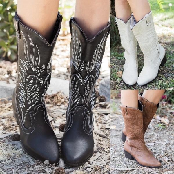 Outono Inverno Ocidental Novas Mulheres Da Moda Botas de Salto Grosso Cavaleiro Bordado Botas de Equitação Deslizamento em Mid Calf Boots Botas De Couro