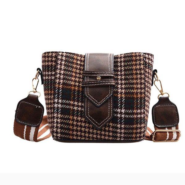 Lana vendimia de la mujer bolsas de tela escocesa 2019 Nueva Moda Mujer Bucket Bag Lady hombro bolsa de mensajero de Crossbody Bolso Femenino