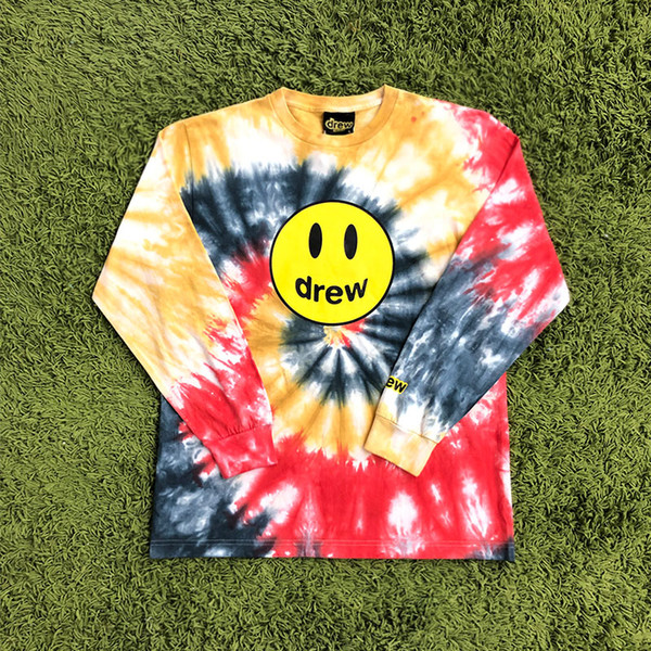 Justin Bieber The Drew House Drew Smile Face Stampato Tie-dye T-shirt a manica lunga T-shirt Hiphop Streetwear T-shirt oversize