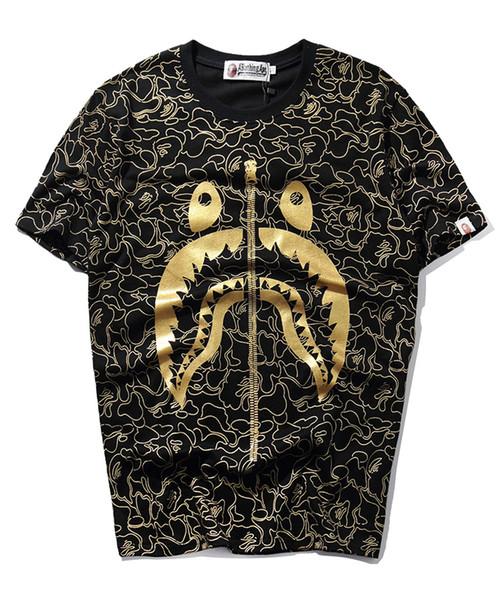 mens magliette del progettista maglietta vestiti squalo commercio estero marea degli uomini di marca giovani girocollo casual bronzing cotone a maniche corte t-shirt jm