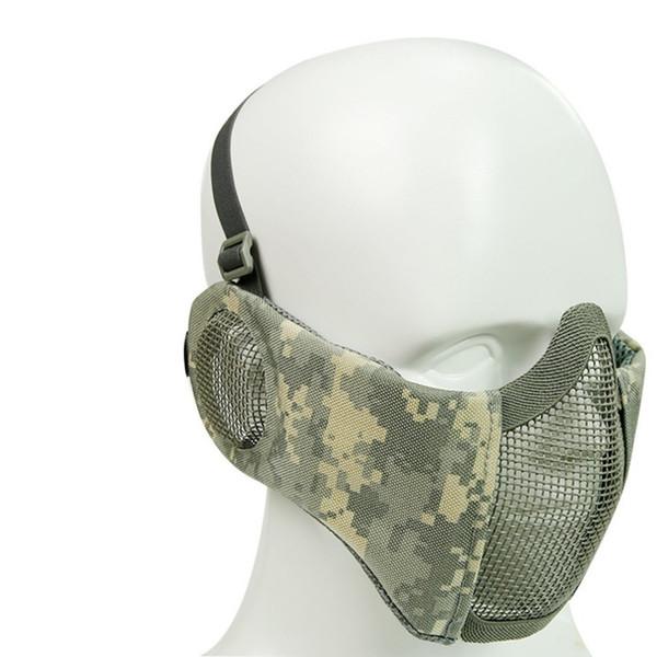 Máscara táctica Airsoft Media cara inferior Metal Red de acero The Field Elite Protección auditiva Ciclismo al aire libre Máscara táctica de acero