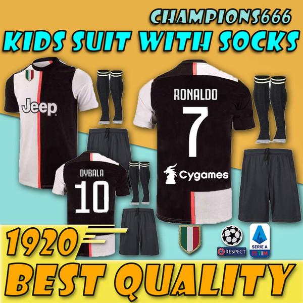 Çocuk Kitleri Tayland Juv futbol forması futbol gömlek 2019 2020 RONALDO 18 19 20 üniforma şampiyonları Bernardeschi DYBALA JUVE EA SPOR