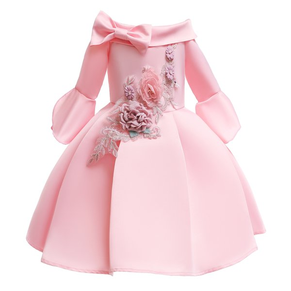 New bowknot Embroidered Boat Neck Long sleeves Satin Lovely Elegant Party Pageant Princess 2-9T Girl Dresses 3192