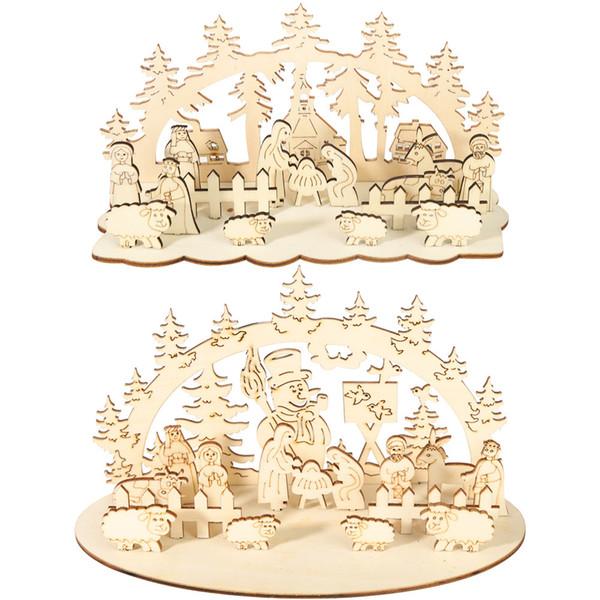 2019 Ahşap Melek Koyun Noel Dekorasyon Ev DIY için Splice Noel Süsler Çocuklar Hediye için Ev Noel Partisi Süslemeleri