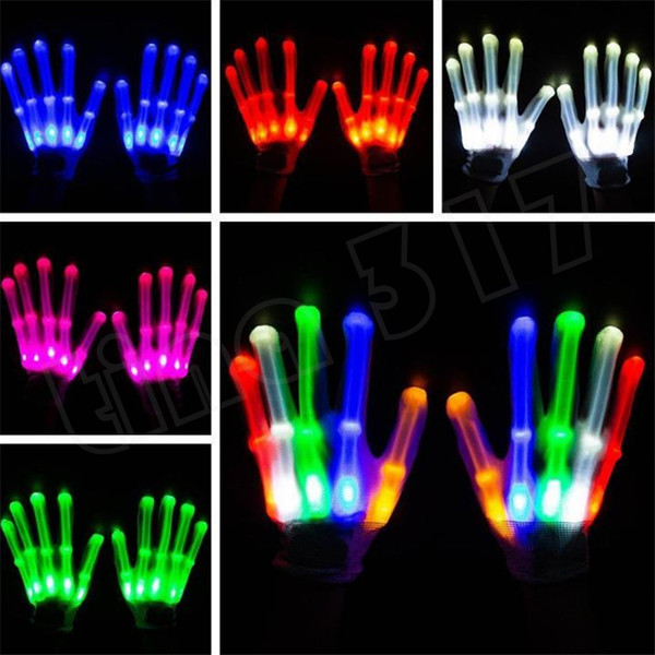 Halloween Christmas dance performance props LED luminous glove colorful flashing gloves Rainbow fluorescent five fingers gloves T7C5003