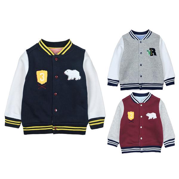Kinder Pullover Kontrast Baseballuniform Jacke Baby Warme Pullover Knopf Cartoon Jacke Rundhals Outwear Tier 45