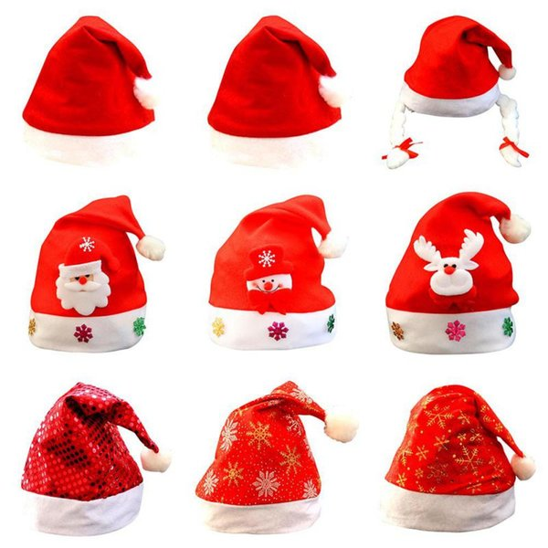 Christmas Cap Ornaments Santa Hats For Christmas Party Props Adult Child Hat Home Garden Festive Party Supplies