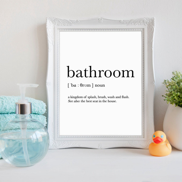 Bathroom Signs Wall Art Canvas Posters Prints Funny Bathroom Definition Quote Painting Black White Wall Picture Home Decor