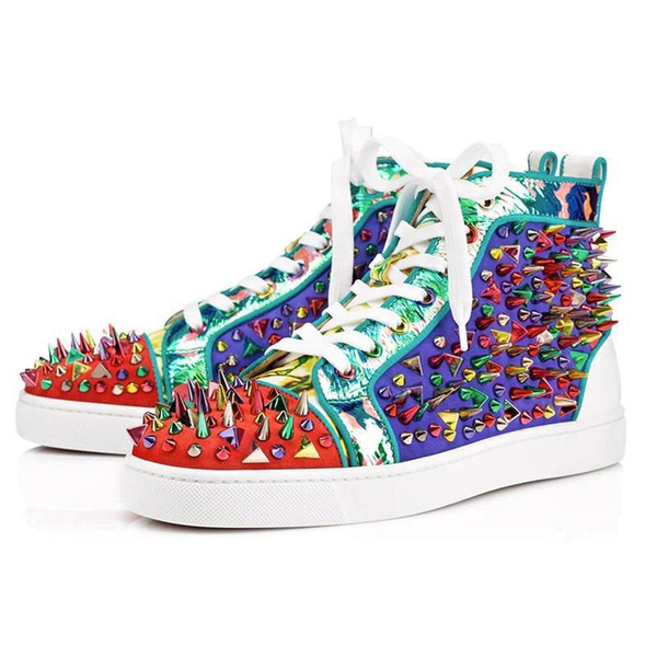 11 color Men And Women Unisex Shoes Red Bottom Sole Sneakers Party Wedding Shoes Leather High Top Studded Spikes Rhinestone Shoes Sneaker