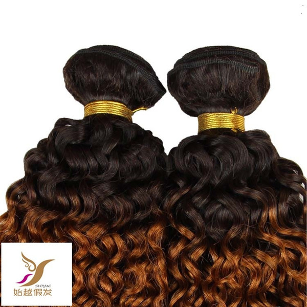 T1B / 27 Virgem Afro Brasileira Kinky Curly Ombre Extensões de Cabelo 10-30