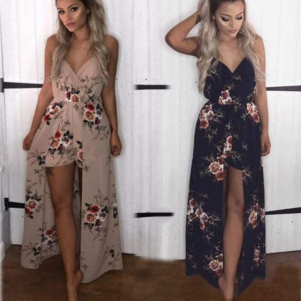 2019 spring new women's sling jumpsuit beach skirt print sexy V-neck dress