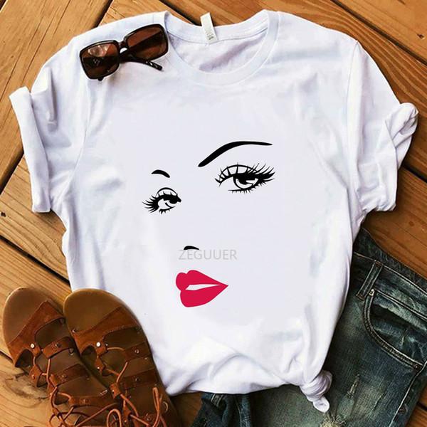 Kadının Yüzü Komik T-Shirt% 100% Pamuk Kız Beyaz T-Shirt Lady Yaz Süper Yumuşak Rahat Bayan Hipster Tasarım Harajuku Tees Tops