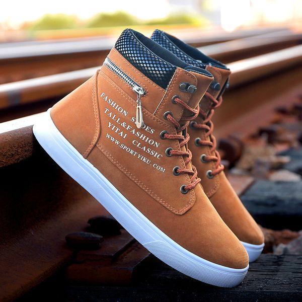 0069e7fb0dc Gnome Versão Coreana de Alta Top Homens Sapatos Casuais Outono Inverno  Zipper Sapatos de Grife Homens