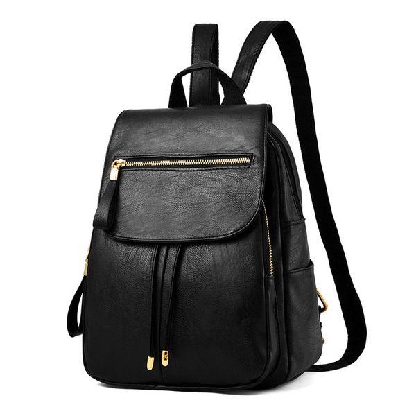 Women Backpacks High Quality PU Leather Travel Bags Female School Satchel Bag teenage backpacks for girls vintage Black