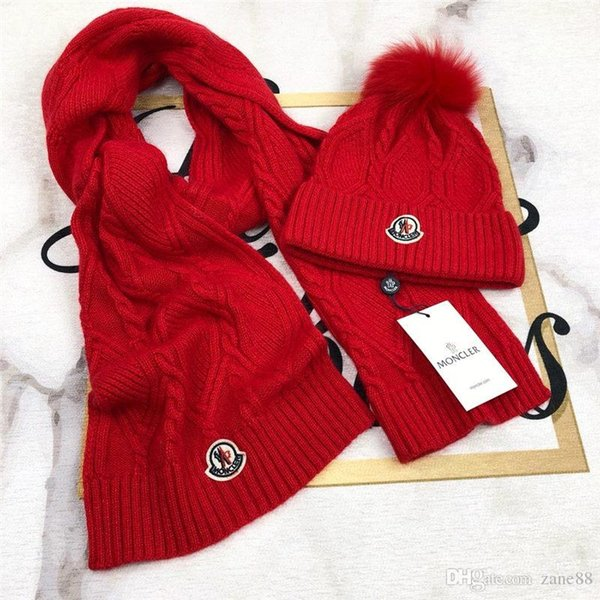 New Winter Women Warm Knitted Hat Scarf Two Pieces Set Fashion Girl Pompom Ball Beanie Caps Female Casual Hat