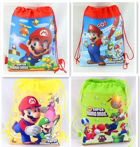 Pop Super Mario The First Cartoon Kids Drawstring Printed Backpack Beach Shopping School Traveling Bags 25*27cm