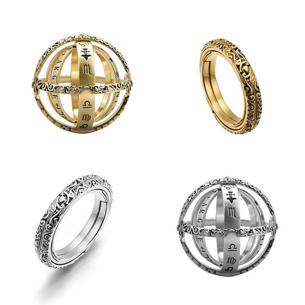 top popular Astronomical Ball Ring Overturn Fold Astroscope Ring Silver Gold Forever Love Rings Cosmic Will and sandy Fashion Jewelry 080482 2020