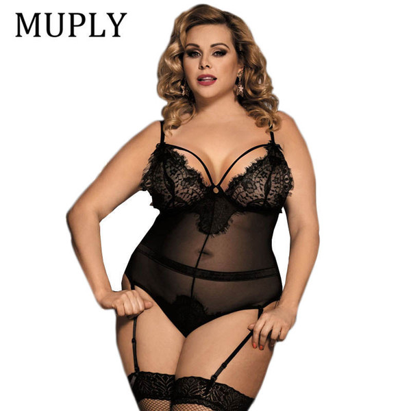 2018 Black See Through Sexy Lingerie Larg Size Women Nightwear Hot Sale Hollow Out Backless Lace Lingerie Erotica Set Nightwear Y19070302