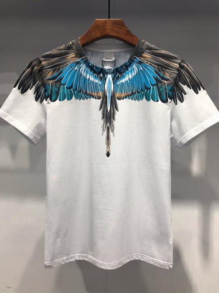 19SS The New Style Bird Feather Print Serie Designer Magliette MARCELO BURLON Fashion T Shirt