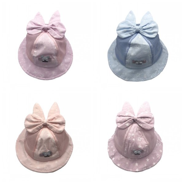 Kids Bucket Hats Caps Baby Girls Boys 2019 Breathable Mesh Hollow Out Bow Sun Hat Topee Beanie Caps Children Accessories Q185