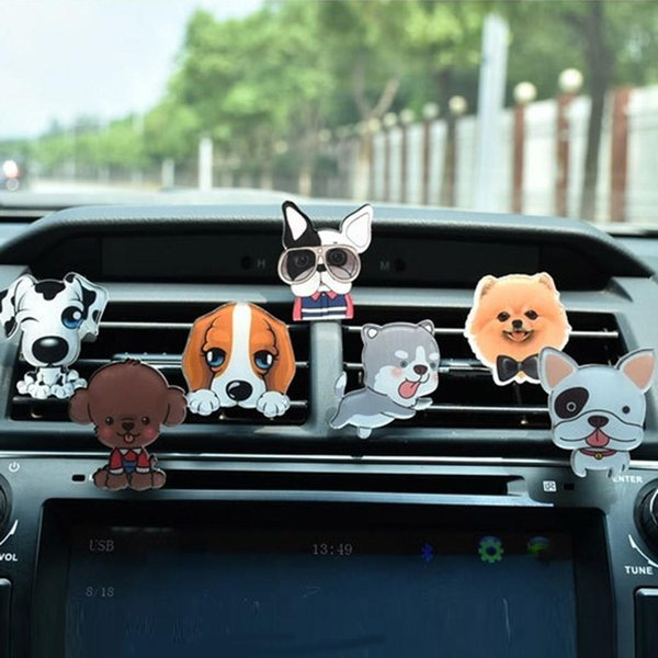 Solid Car Air Freshener Cartoon Dog Car Perfume Scent Clip Air Freshener Vent Aromatherapy for Comditioner Vent
