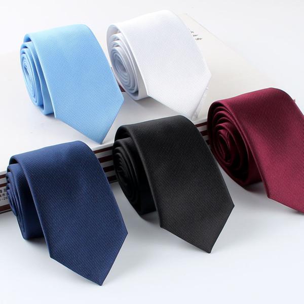Solid color men's tie 6cm dress business groom wedding work professional black tie wholesale custom