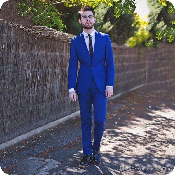 Royal Blue Men/'s 2 Piece Jacket+Pants Wedding Groom Tuxedos Groomsman Party Suit