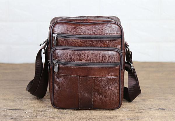 Brand New Design Mens genuine leather shoulder messenger bag Retro man travel business cross body bags male boys organizer Phone hand bags