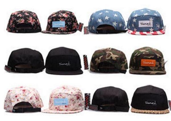2017 Discount price DIAMOND 5 Panel Hats Snapback pierce Caps Adjustable BaSeball Snap Back Snapbacks Players Sports free shipping