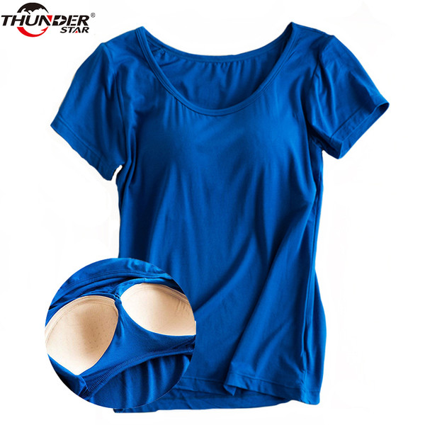 Modal Built In Padded Bra T-shirt Women's Short Sleeve Breathable Clothing Female Bottoming T Shirt Tops Casual Lady Top Tees Q190507
