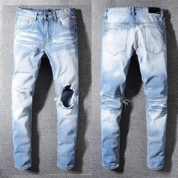 la moda de los hombres clásicos apenada del motorista Rasgado Vaqueros Slim Fit motorista de la motocicleta del dril de algodón para los hombres de moda Hip Hop Jeans para hombre diseñador de la buena calidad