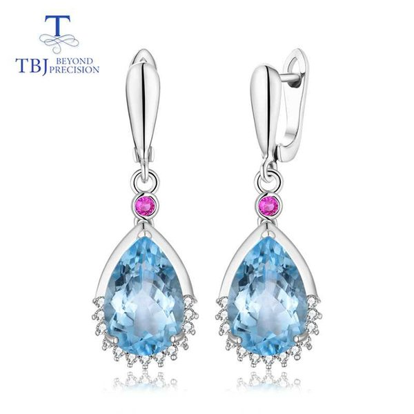 TBJ,Water Drop 13.5ct Genuine brazil blue topaz gemstone good clasp Earring 925 Sterling Silver Fine Jewelry For Women best gift