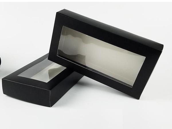 21 * 11 * papel de caramelo caja de embalaje de cartón de embalaje de papel artesanal caja de regalo de la ropa interior de los 3.5CM Negro cartón con ventana de PVC transparente