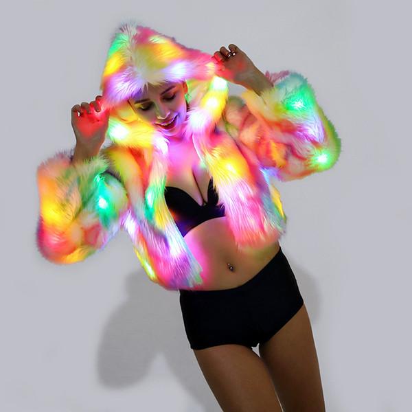 2019 nuovo colore graduale donne cappuccio costume cosplay anime colorato LED luce inverno caldo cappotto di pelliccia sintetica soffice giacca di pelliccia