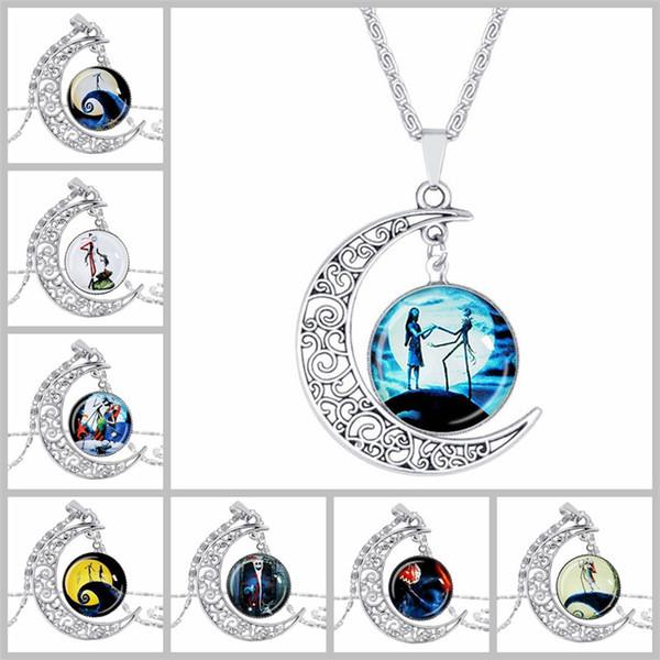Nightmare Before Christmas Halskette Mond Glas Cabochon Halsketten Designer Halskette für Frauen Kinder Weihnachten Valentinstag Geschenk 161459