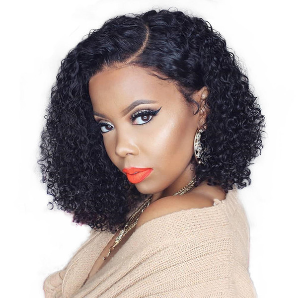 Short Bob hair Lace Front Wig Brazilian Wavy Bob Wig Pre Plucked With Baby Hair Curly
