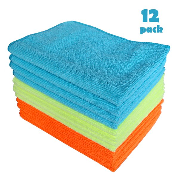 Cloths & Brushes 12Pcs Microfiber Auto Car Detailing Wash Dry Clean Polish Cloth Duster Kitchen Dirt Cleaning Home Cleaning Tools