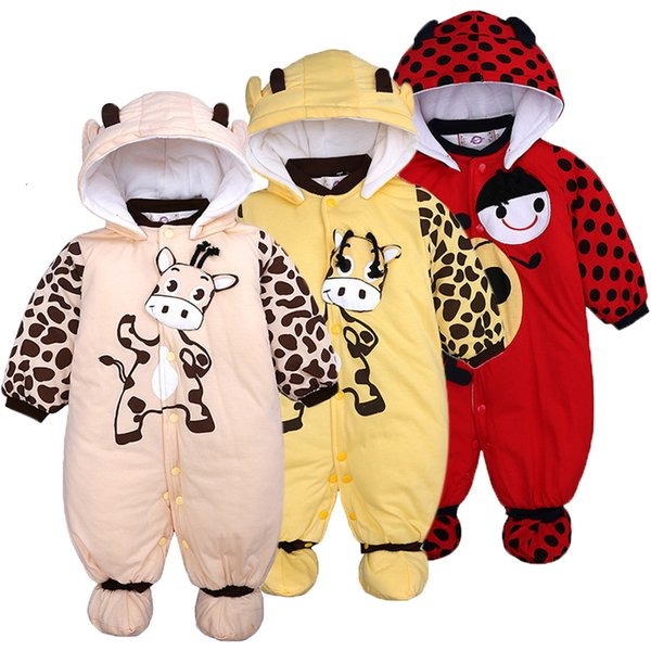 Infant Clothing Baby Boys Cotton Warm Cartoon Hooded Romper For Kids Baby Girls Autumn Winter Jumpsuit 2019 Newborn Baby ClothesMX190912