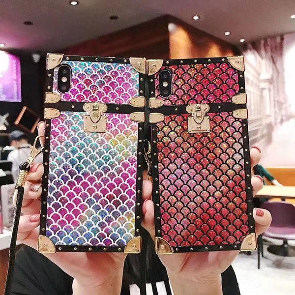 Luxury Fish Scale Pattern Designer Phone Case For iPhone X XS Max XR 8 7 6 Plus Protect Back Cover Case with Lanyard